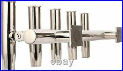 5 Tube Adjustable Stainless Rod Holder Fishing Rod Rack Wall Mounted Top Mounted