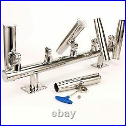5 Tube Adjustable Stainless Rod Holders, Wall Mounted/Top Mounted Rod Holder Rack