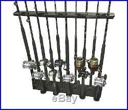 Big Game Wall Mount 10 Rod Holder With Varied Heights For Maximum Space NEW Rack