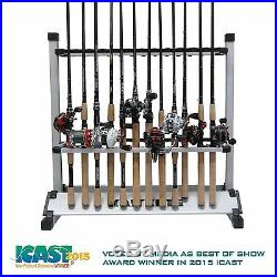 Fishing Gear Storage 24 Rods Holder Rack Easy Rolling Aluminum Portable Garage