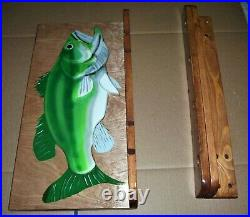 Fishing Pole Rack Holder Wooden Fish Shape Wall Mount Holds 4 rods Hand crafted