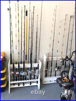 Fishing Rod Rack Holder 24 Rods Fish Pole Storage Sportsman Indoor Outdoor Stand
