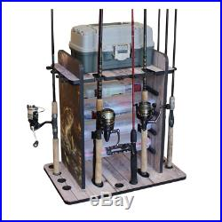 Fishing Rod Rack Pole Holder Tackle Box Shelf Boat Trophy Room Bass Fish Graphic
