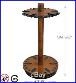 Fishing Rod Rack Round Spinning 360-Deg Rotation Up To 30 Gear Water-Resistant