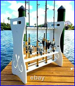 Fishing Rod Storage Rack, Holds 24 Fishing Rods and Reels, Weatherproof