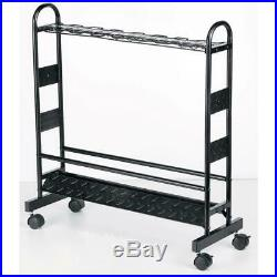 Industrial Metal Fishing Rod Rack 16-capacity Organized Fishing with Wheel Movable