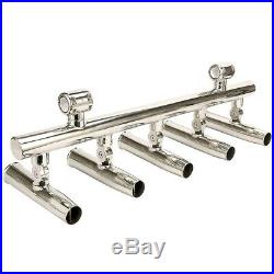 NEW 5 Tubes Boat Fishing Rod Holder Rod Rack 2Clamp for Rails 1 to 1-1/4 inch