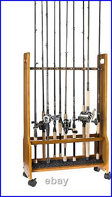Old Cedar Outfitters Double Sided Heavy Duty Rolling Rack for Fishing Rod Storag