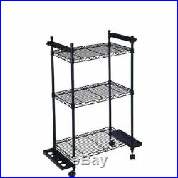 Organized Fishing Rod And Tackle Storage 3 Adjustble Shelves Rolling Trolley New