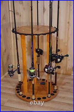 Organized Fishing Spinning Floor Rack for Fishing Rod Storage, Holds up to 24