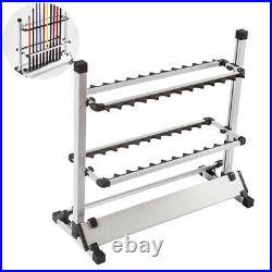 Portable Aluminum Alloy 24 Rods Rack Fishing Rod Pole Holder Stand Storage Tool