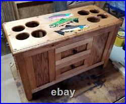 ROD & REEL CABINET with SIDE ROD RACKS fly fishing rods TROUT reels lures