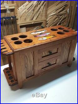 ROD & REEL CABINET with SIDE ROD RACKS flyfishing rods TROUT reels lures line