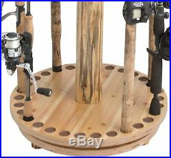 Rustic Style Fishing Rack Rod Storage Round Spinning Durable Wood Stunning Brown