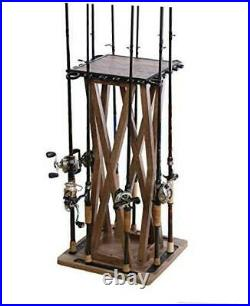 Spinning Large Distressed Floor Rod Rack for Fishing Rod Storage, 24-Rod