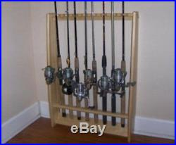 Vertical Wall Fishing Pole Rod Rack 8 Natural TVWRR-8